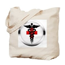 caduceus on red cross Tote Bag
