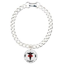 caduceus on red cross Bracelet