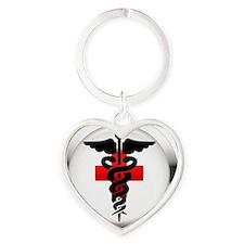 caduceus on red cross Heart Keychain