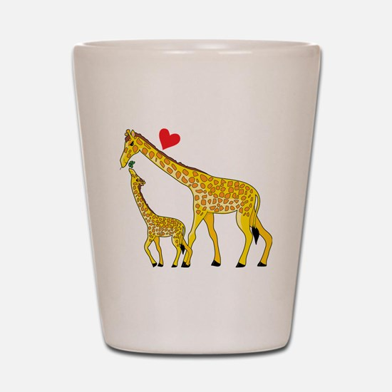 giraffe and baby cp wht Shot Glass