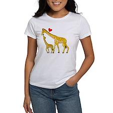 giraffe and baby cp wht Tee