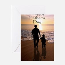 2-father and son on beach Greeting Card