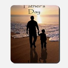 2-father and son on beach Mousepad