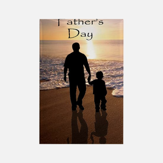 2-father and son on beach Rectangle Magnet