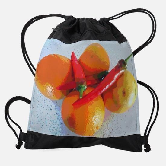 Orange and paprika Drawstring Bag