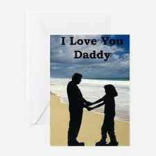 2-father and daughter on beach Greeting Card