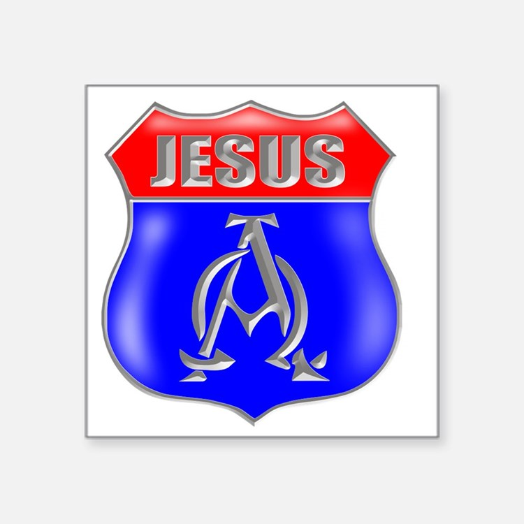"JESUS AO SIGN Square Sticker 3"" x 3"""