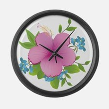 Tropical hybiscus Large Wall Clock