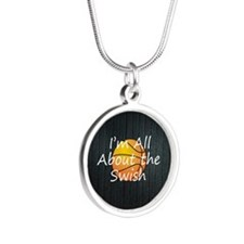 TOP Basketball Swish Silver Round Necklace