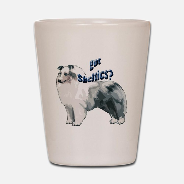 blue merle shelty2 Shot Glass