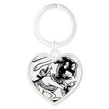 hopping mad bunny Heart Keychain