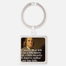 Ben Franklin Quote Square Keychain