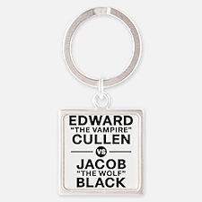 edward-vs-jacob_black Square Keychain