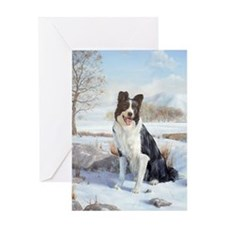 035 Border Collie in snow Greeting Cards