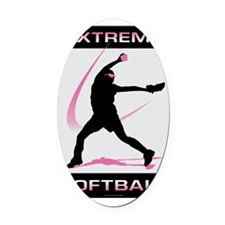 Softball 39 Oval Car Magnet