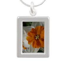 flower barrett browning  Silver Portrait Necklace