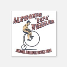 "antique-wheelie-show-T Square Sticker 3"" x 3"""