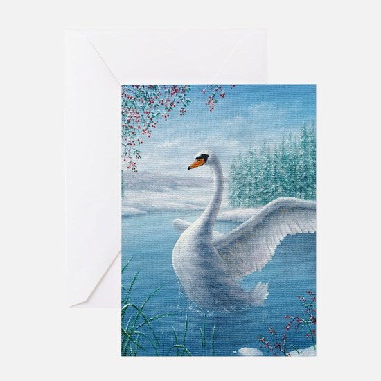 Cool Swans Greeting Card