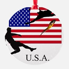 USA FLAG WITH SOCCER PLAYERS Ornament