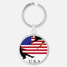 USA FLAG WITH SOCCER PLAYERS Round Keychain