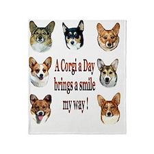 A Corgi a Day Brings a Smile Throw Blanket