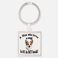 A Man who loves a Corgi - Dott Square Keychain
