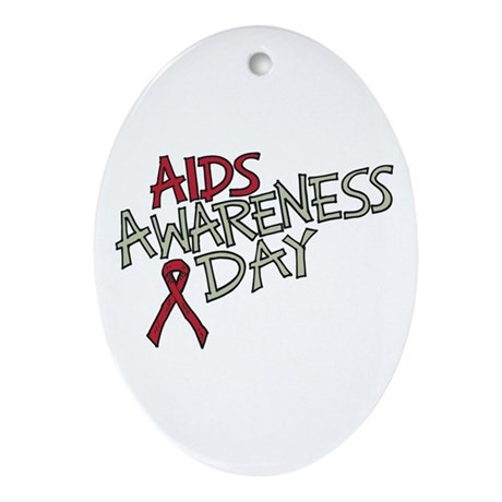 AIDS Awareness Day Oval Ornament