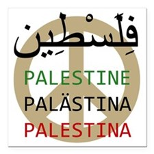 "Peace in Palestine Square Car Magnet 3"" x 3"""