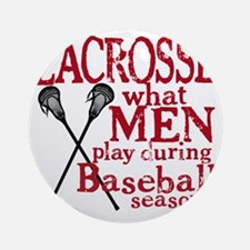 2-men play lacrosse red Round Ornament