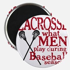 2-men play lacrosse red Magnet