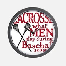 2-men play lacrosse red Wall Clock
