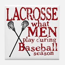2-men play lacrosse red Tile Coaster