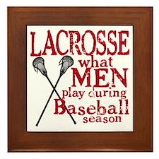 2-men play lacrosse red Framed Tile