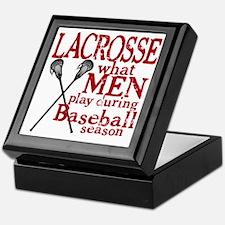 2-men play lacrosse red Keepsake Box