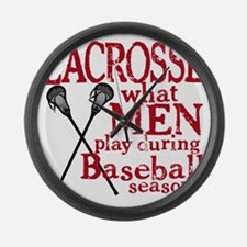 2-men play lacrosse red Large Wall Clock