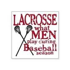"2-men play lacrosse red Square Sticker 3"" x 3"""