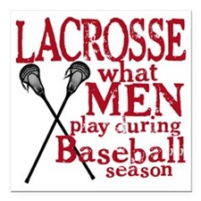 "2-men play lacrosse red Square Car Magnet 3"" x 3"""