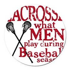 2-men play lacrosse red Round Car Magnet