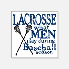 "2-men play lacrosse blue Square Sticker 3"" x 3"""