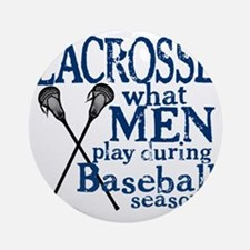 2-men play lacrosse blue Round Ornament