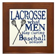 2-men play lacrosse blue Framed Tile