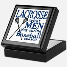 2-men play lacrosse blue Keepsake Box
