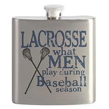 2-men play lacrosse blue Flask