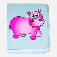 Cute Pink Baby Hippo baby blanket