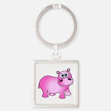 Cute Pink Baby Hippo Keychains