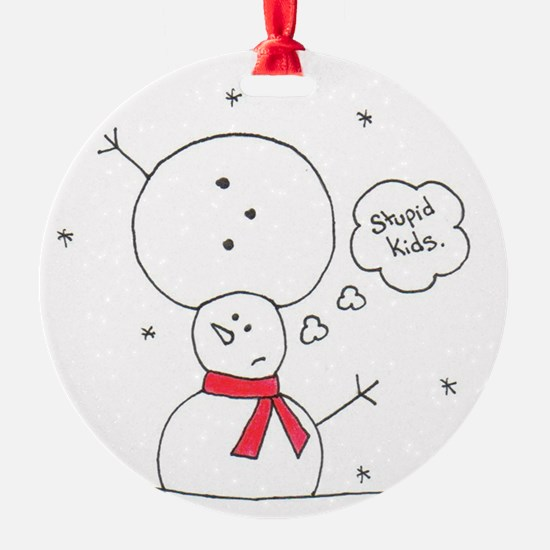mixed up snowman Round Ornament
