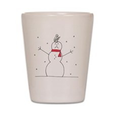 snowman and squirrel Shot Glass