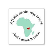 "Stole my Heart Africa Square Sticker 3"" x 3"""