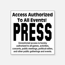 "press_pass Square Sticker 3"" x 3"""