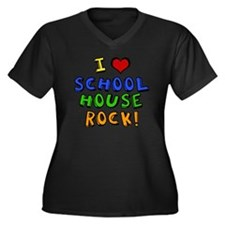 schoolhouser Women's Plus Size Dark V-Neck T-Shirt